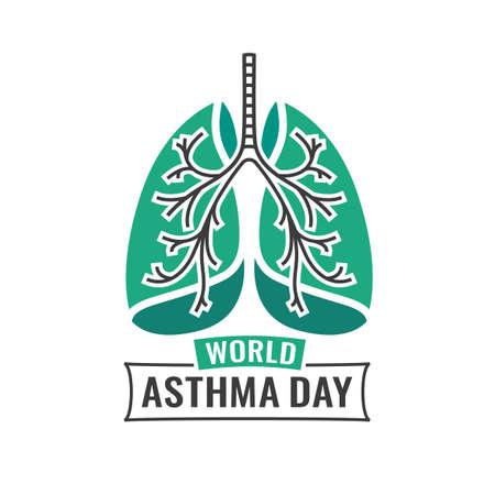 illustratie van medische astma wereld dag. Bewerkbare afbeelding in smaragdgroen en donker grijs kleuren nuttig voor een poster, pictogram, aanplakbiljet, teken, advertentie en web creatief ontwerp. Stock Illustratie