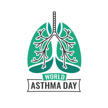 pulmonology: illustration of medical asthma world day . Editable image in emerald green and dark gray colors useful for a poster, icon, placard, sign, ad and web creative design. Illustration