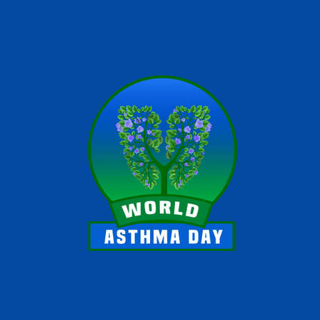 inhalation: illustration of medical asthma world day . Editable colorful image in green and blue colors useful for a poster, icon, placard, sign, ad and web creative design.