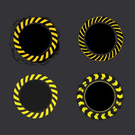 ruban Danger cercle jaune et noir sur fond gris foncé. illustration.