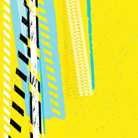 perimeter: Vector grunge automotive background with danger tape lines and track prints.