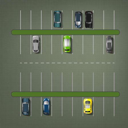 Los estacionamientos con los coches de la ilustración. Vista superior. colección del automóvil.