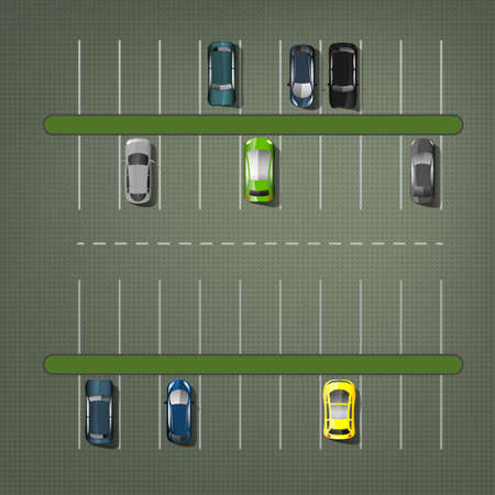 Parking lots with cars illustration. Top view. Automotive collection.