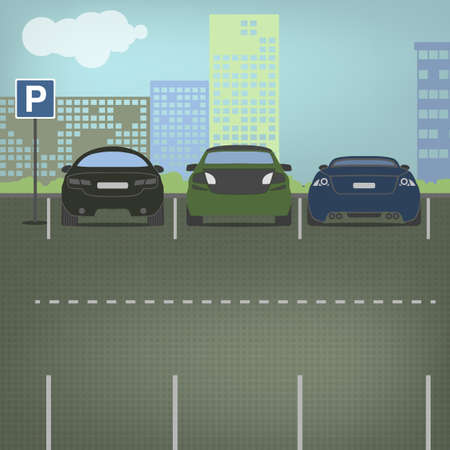 laconic: Car parking graphic in modern laconic style. Editable illustration. Automotive collection. Illustration