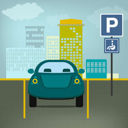 standstill: Car parking graphic in modern laconic style. Editable illustration. Automotive collection. Illustration