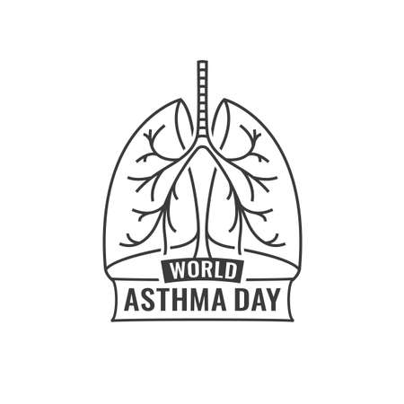 pulmonology: illustration of medical asthma world day . Editable monochrome image in dark gray color useful for a poster, icon, placard, sign, ad and web creative design.