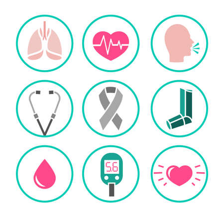 air awareness: illustration of asthma icons set. Abstract medicine concept. Useful for poster, indographics, placard, leaflet, brochure, print, book and ad graphic design.