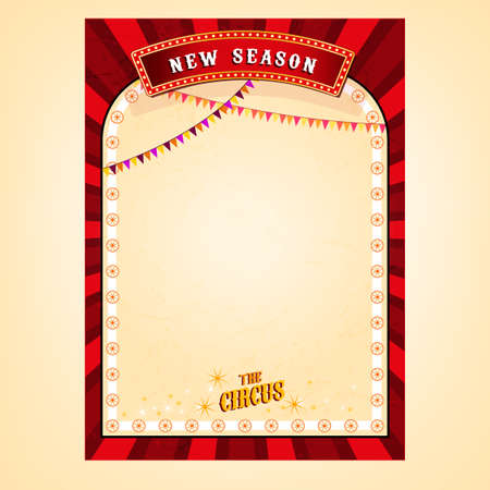 marquee tent: Vector vintage circus background in bright red, yelow and white colors with blank place. Editable retro illustration useful for a poster, banner, advertisement or placard graphic design Illustration