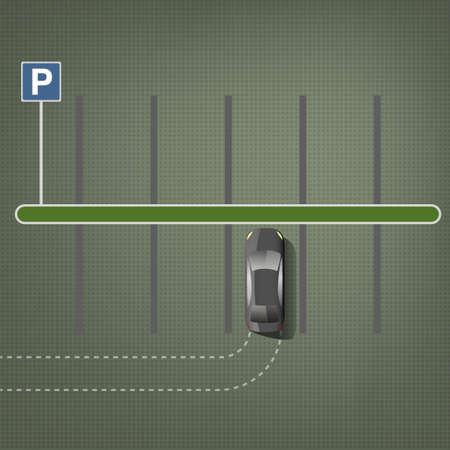 car lots: Top view car parking lots. Editable illustration in green and gray colors. Automotive graphic collection.