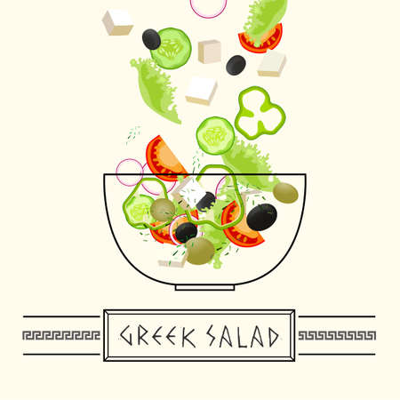 mediterranean diet: Fresh Greek Salad illustration with flying ingredients in authentic style on a light beige background. Illustration