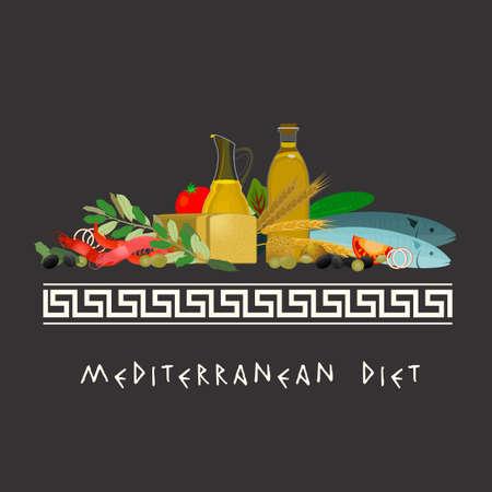 Mediterrane dieet afbeelding in een modern authentieke stijl op een donkere grijze achtergrond. Stock Illustratie