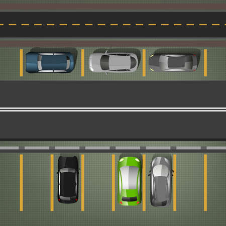 car lots: Top view car parking lots. Editable illustration in dark gray, black, green and yellow colors. Automotive graphic collection. Illustration