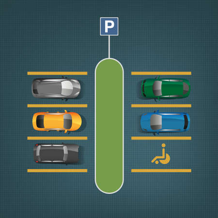 car lots: Top view car parking lots. Editable illustration in blue, yellow, green and gray colors. Automotive graphic collection.