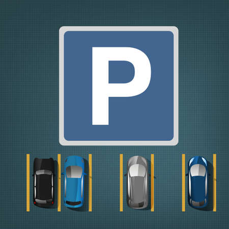 busy street: Top view car parking lots. Editable illustration in blue, gray and white colors. Automotive graphic collection. Illustration