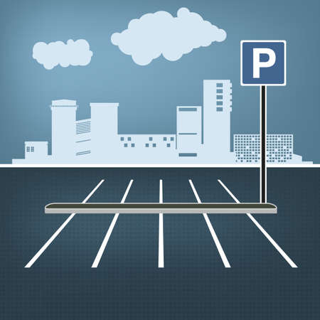 Top view car parking lots. Editable illustration in blue, gray and white colors. Automotive graphic collection. Vettoriali
