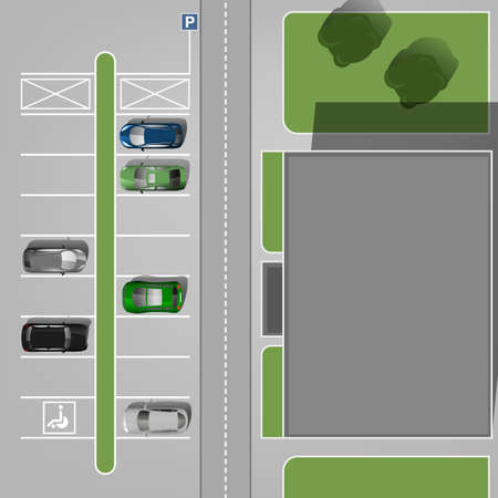 car lots: Top view car parking lots. Editable illustration in gray, green and blue colors. Automotive graphic collection.