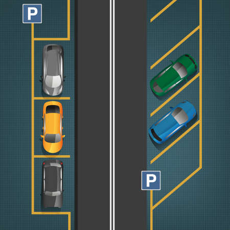 Bovenaanzicht auto parkeerplaatsen. Bewerkbare illustratie in donker grijs, blauw en gele kleuren. Automotive grafische collectie.