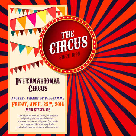 yelow: Vector vintage circus background in bright red, yelow and blue colors with illuminated elements. Editable retro illustration useful for a poster, banner, advertisement or placard graphic design