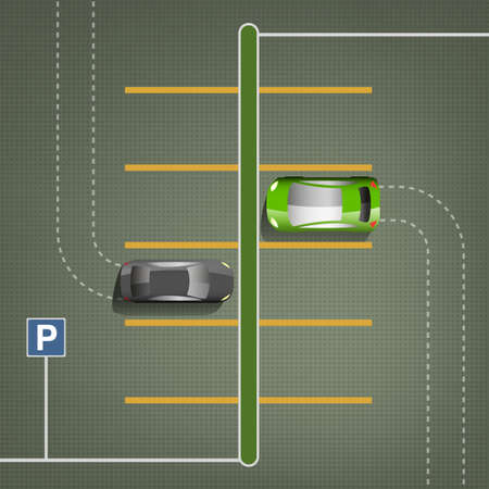 car lots: Top view car parking lots. Editable vector illustration in green and gray colors. Automotive graphic collection.