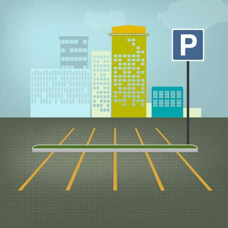 Bovenaanzicht auto parkeerplaatsen. Bewerkbare vector illustratie in het groen, grijs, blauw en gele kleuren. Automotive grafische collectie. Vector Illustratie
