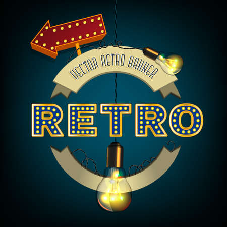 isoated: Retro illustration with lightbulbs, round banners and pointer. Vector isoated image on a dark blue background