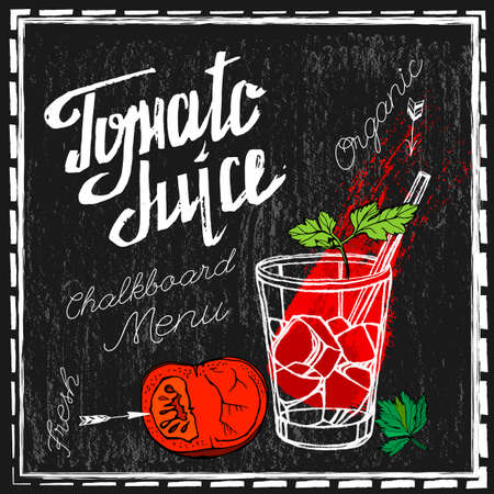 blackboard background: Beautiful hand drawn tomatoes and tomato juice in a glass on a textured background in unique style. Graphic vector image. Menu element for cafe or restaurant. Fresh juice for healthy life.