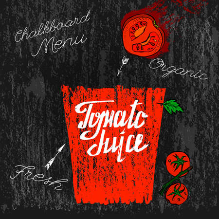 food drink: Beautiful hand drawn tomatoes and tomato juice in a glass on a textured background in unique style. Graphic vector image. Menu element for cafe or restaurant. Fresh juice for healthy life.