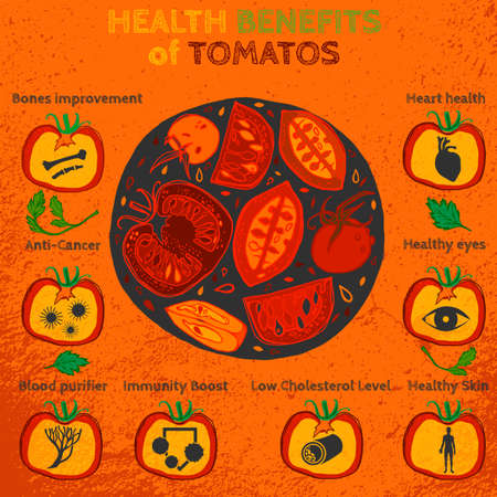 Health benefits of ripe tomatoes. Medicine icons and elements in hand drawn style on a textured background. Vector illustration made in orange, red and green colors. Иллюстрация