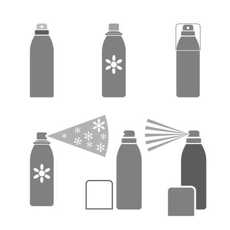 compressed air: Deodorant icons in gray color isolated on a white background in flat simple style.