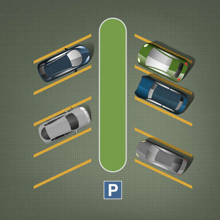 car lots: Top view car parking lots. Editable illustration in green, gray, blue and yellow colors. Automotive graphic collection.