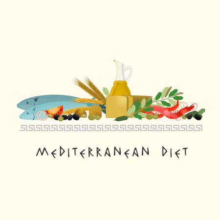 La imagen hermosa de la dieta mediterránea en un auténtico estilo moderno sobre un fondo de color beige. Ilustración de vector
