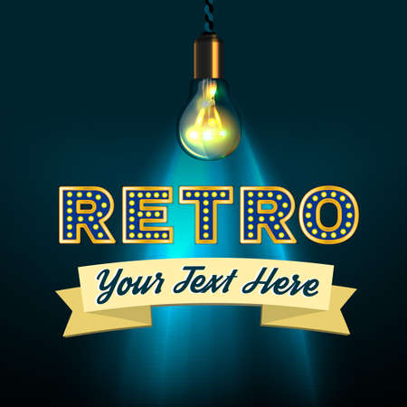 lighting bulb: Retro composition with lettering, lighting bulb and blank banner for your text.