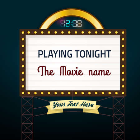 show bill: Retro glowing cinema signboard with illuminated elements in brown, white, golden and blue colors on a dark background. Vectores