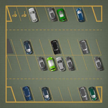 Bovenaanzicht auto parkeerplaatsen.