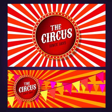 show bill: vendimia fondos de circo del paisaje en colores rojo, amarillo y blanco brillante con elementos luminosos.