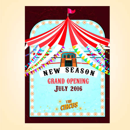 show bill: circo de fondo de la vendimia en colores rojos, violetas y azules claros. Vectores