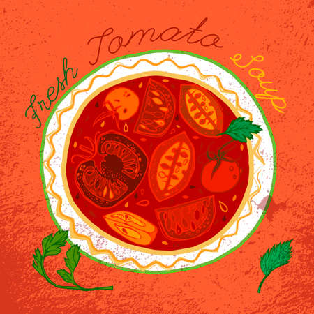 mexican food plate: Hot tomato soup in ceramic ethnic bowl. Beautiful vector illustration. Hand drawn image in unique style on a bright textured background.