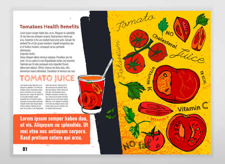 Health benefits of  tomatoes and tomato juice. Medicine creative leaflet in hand drawn style on a textured background. Vector illustration made in orange, black, red and green colors. Landscape format Illustration