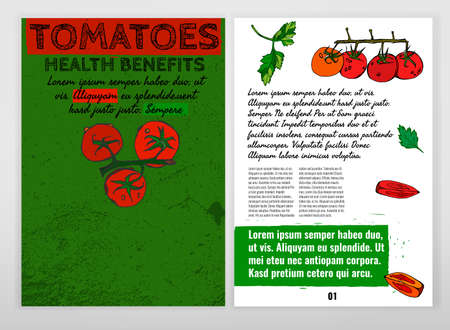 hale: Health benefits of ripe tomatoes and tomato juice. Medicine creative leaflet in hand drawn style on a textured background. Vector illustration made in white, black, red and green colors. Illustration
