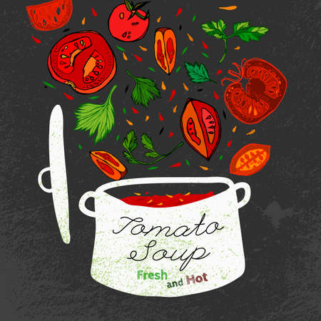 mexican food plate: Hot tomato soup in white cooking pot with veggies falling down. Beautiful vector illustration. Hand drawn image in unique style on a blackboard textured background.