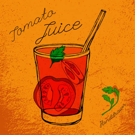 tomato juice: Hand drawn tomato juice image  in fresh artistic style. Beautiful vector illustration on a textured bright orange background. Tomato slices and parsley in a glass in red, black and green colors.