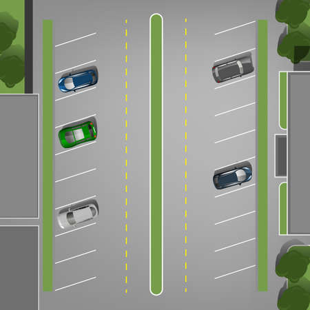 urban city: Top view car parking lots. Editable illustration in gray, green and blue colors. Automotive graphic collection.