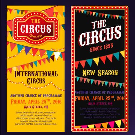 show bill: banderas retrato de circo de la vendimia en los colores rojo, amarillo la brillante y negro con elementos luminosos. Ejemplo retro editable útil para un cartel