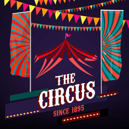 festoon: vintage circus background in bright red, violet and blue colors with illuminated elements. Editable retro illustration useful for a poster, banner, advertisement or placard graphic design