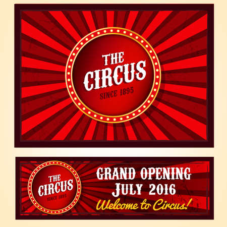 announcement icon: vintage circus landscape backgrounds in bright red, yelow and white colors with illuminated elements. Editable retro illustration useful for a poster, advertisement design