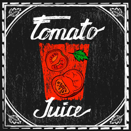 tomato juice: tomato juice image  in artistic style. illustration on a textured dark gray background. Tomatoes and tomato juice in a glass in red, white, black and green colors.