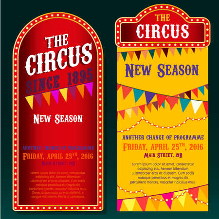 show bill: vintage circus backgrounds in bright red, yelow and violet colors with illuminated elements. Editable retro illustration useful for a poster,  advertisement or placard graphic design