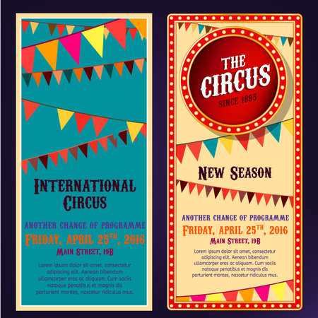 playbill: vintage circus portrait backgrounds in bright beige, red, yelow and blue colors with illuminated elements. illustration useful for a poster, banner, advertisement or placard graphic design