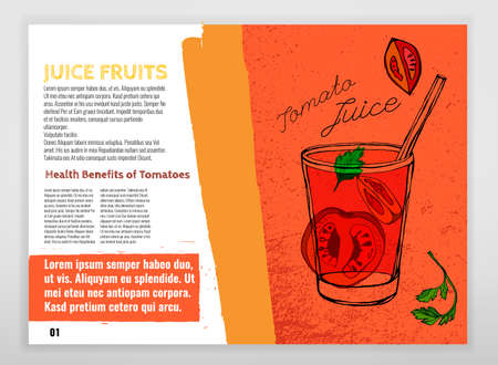 トマトやトマト ジュースの健康上の利点。医学の創造的なリーフレットは手に織り目加工の背景でスタイルを描画します。図はオレンジ、黒、赤、