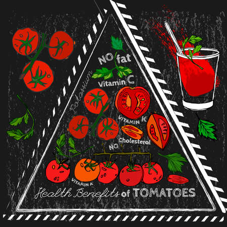 hale: Health benefits of ripe tomatoes. Medicine creative poster in hand drawn style on a textured chalk board background. illustration made in white, black, red and green colors. Illustration